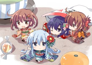 Rating: Safe Score: 48 Tags: akatsuki_(kancolle) anthropomorphism blue_hair blush bow brown_eyes brown_hair chibi fang group hibiki_(kancolle) hizuki_yayoi ikazuchi_(kancolle) inazuma_(kancolle) kantai_collection tagme wink User: RyuZU