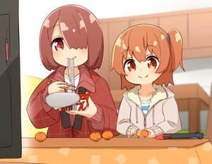 Rating: Safe Score: 50 Tags: 2girls brown_eyes brown_hair food fruit game_console hoodie hoshino_hinata hoshino_miyako japanese_clothes kotatsu loli manse orange_(fruit) ponytail short_hair watashi_ni_tenshi_ga_maiorita! User: otaku_emmy