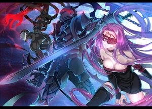 Rating: Safe Score: 58 Tags: armor blindfold breasts cleavage cursed_arm_hassan dress fate_(series) fate/stay_night lancelot_(fate) long_hair male purple_hair rider sword tattoo thighhighs weapon ycco_(estrella) zettai_ryouiki User: RyuZU