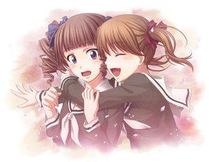 Rating: Safe Score: 22 Tags: 2girls blue_eyes brown_hair chobipero fukuzawa_yumi maria-sama_ga_miteru matsudaira_touko petals school_uniform User: HawthorneKitty