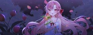 Rating: Safe Score: 45 Tags: blush braids cheli_(kso1564) clouds flowers long_hair night purple_hair sky stars yun_rijeu User: BattlequeenYume