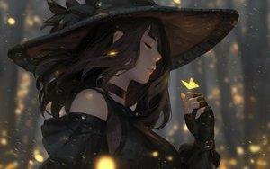 Rating: Safe Score: 159 Tags: brown_hair butterfly guweiz hat original realistic witch User: mattiasc02