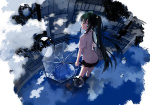 Rating: Safe Score: 58 Tags: clouds glasses green_eyes green_hair hakusai kneehighs long_hair original reflection school_uniform twintails umbrella water User: FormX