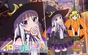 Rating: Safe Score: 20 Tags: 2girls agata_arishiana aqua_eyes blonde_hair candy dress gloves gray_hair halloween hat headband irodori_midori kobotoke_nagi logo lollipop long_hair pumpkin purple_eyes ribbons tagme_(artist) thighhighs wings witch witch_hat zoom_layer User: RyuZU