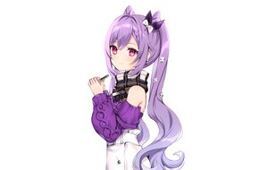 Rating: Safe Score: 53 Tags: braids genshin_impact keqing_(genshin_impact) long_hair nami_(nyaa) phone pink_eyes purple_hair scarf skirt twintails white User: otaku_emmy