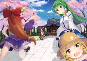 Rating: Safe Score: 14 Tags: blonde_hair blue_eyes bow brown_hair cherry_blossoms clouds green_hair group hakurei_reimu horns ibuki_suika japanese_clothes kochiya_sanae long_hair miko moriya_suwako shrine skirt sky tagme_(artist) touhou tree yellow_eyes User: luckyluna