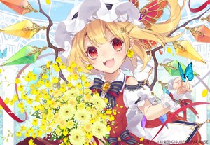 Rating: Safe Score: 39 Tags: blonde_hair blush butterfly fang flandre_scarlet flowers pointed_ears red_eyes ribbons short_hair touhou toutenkou vampire wings wristwear User: RyuZU