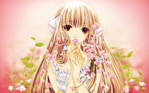 Rating: Questionable Score: 33 Tags: blonde_hair chii chobits flowers red_eyes third-party_edit User: gnarf1975
