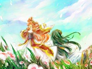 Rating: Safe Score: 10 Tags: 2girls ar_tonelico bow braids dress flowers green_hair infel long_hair nenesha petals pink_hair yumemitsuki User: opai