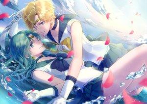 Rating: Safe Score: 50 Tags: 2girls kaiou_michiru koyami_tsukito petals sailor_moon sailor_neptune sailor_uranus shoujo_ai tenou_haruka water weapon User: FormX