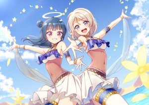 Rating: Safe Score: 62 Tags: 2girls blue_eyes blue_hair clouds deadnooodles flowers garter gray_hair halo headdress long_hair love_live!_school_idol_project love_live!_sunshine!! navel purple_eyes see_through short_hair skirt sky tsushima_yoshiko watanabe_you water wristwear User: otaku_emmy