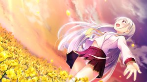 """Rating: Safe Score: 85 Tags: chiri_(atlanta) chuablesoft flowers game_cg himekami_ayame long_hair panties seifuku underwear watashi_ga_suki_nara_""""suki""""_tte_itte! User: Wiresetc"""