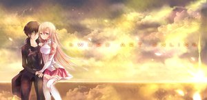 Rating: Safe Score: 87 Tags: crying kirigaya_kazuto long_hair sky sword_art_online tears yuuki_asuna User: animefreak_usa