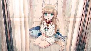 Rating: Safe Score: 74 Tags: 40hara animal_ears brown_hair catgirl choker fang green_eyes kinako_(40hara) loli original rain third-party_edit waifu2x water User: gnarf1975