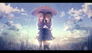 Rating: Safe Score: 130 Tags: 2girls aliasing apple228 bow brown_hair building city original pantyhose rain school_uniform thighhighs umbrella water zettai_ryouiki User: Flandre93