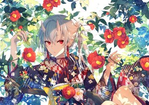 Rating: Safe Score: 73 Tags: aliasing demon flowers goma_(11zihisin) gray_hair horns japanese_clothes kimono leaves long_hair original red_eyes User: sadodere-chan
