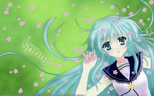 Rating: Safe Score: 15 Tags: aqua_eyes aqua_hair blush flowers grass long_hair User: Maboroshi