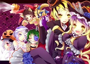 Rating: Safe Score: 16 Tags: animal_ears group halloween hat hijiri_byakuren houjuu_nue kaza kumoi_ichirin murasa_minamitsu nazrin tail toramaru_shou touhou wings yellow_eyes User: Tensa