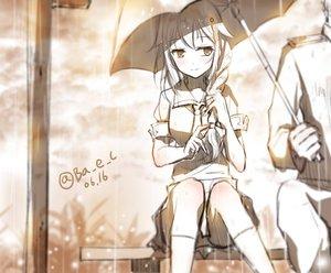 Rating: Safe Score: 199 Tags: anthropomorphism boyogo braids kantai_collection kneehighs monochrome rain shigure_(kancolle) signed sketch umbrella water User: vf.nightcore