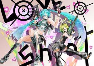 Rating: Safe Score: 94 Tags: gun hatsune_miku kagamine_rin u-bm vocaloid weapon User: FormX