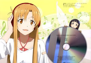 Rating: Safe Score: 40 Tags: 2girls black_hair brown_eyes brown_hair headphones long_hair megami nakano_ruizu scan sword_art_online yui_(sword_art_online) yuuki_asuna User: RyuZU
