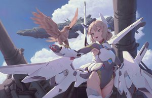 Rating: Safe Score: 25 Tags: airship animal bigrbear bird brown_hair clouds green_eyes gun mechagirl original short_hair sky weapon wings User: RyuZU