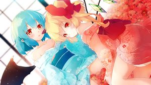 Rating: Safe Score: 70 Tags: 2girls aqua_hair blonde_hair flandre_scarlet flowers gengetsu_chihiro japanese_clothes kimono pointed_ears ponytail red_eyes remilia_scarlet short_hair touhou vampire wings User: Nepcoheart