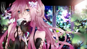 Rating: Safe Score: 99 Tags: butterfly close elbow_gloves gloves megurine_luka microphone signed tyouya vocaloid User: MissBMoon