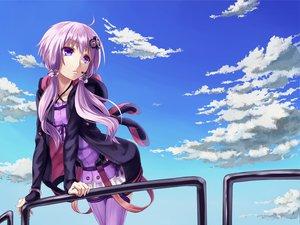 Rating: Safe Score: 213 Tags: clouds hoodie nakasaki_hydra purple_eyes purple_hair sky thighhighs twintails vocaloid voiceroid yuzuki_yukari User: opai