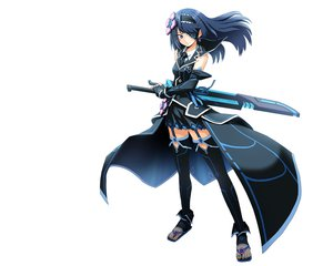 Rating: Safe Score: 239 Tags: blue_eyes blue_hair cosmic_break eyepatch morizo_cs sword thighhighs weapon white User: Wiresetc