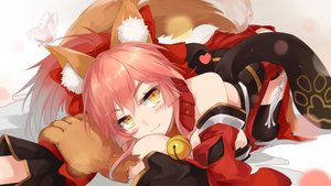 Rating: Safe Score: 119 Tags: animal_ears blush breasts butterfly bzerox caster_(fate/extra) collar fate_(series) fate/stay_night gloves heart pink_hair ponytail tail thighhighs yellow_eyes User: luckyluna