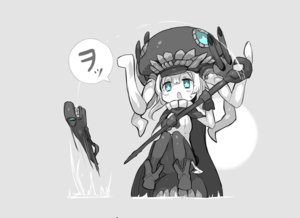 Rating: Safe Score: 45 Tags: anthropomorphism blue_eyes cape ganesagi gray i-class_destroyer kantai_collection staff weapon white_hair wo-class_aircraft_carrier User: FoliFF