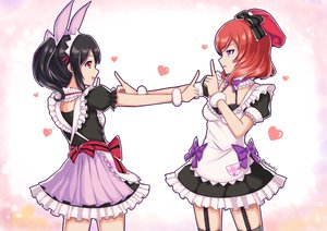 Rating: Safe Score: 58 Tags: 2girls animal_ears black_hair bow bra breasts dress garter_belt kelinch1 love_live!_school_idol_project maid nishikino_maki purple_eyes red_eyes red_hair short_hair twintails underwear yazawa_nico User: RyuZU