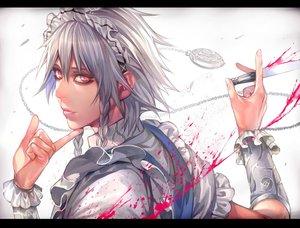 Rating: Safe Score: 42 Tags: blood braids gray_hair headdress izayoi_sakuya jpeg_artifacts knife long_hair maid rby touhou weapon wristwear User: Flandre93