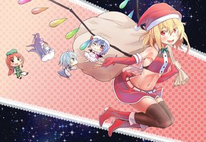 Rating: Safe Score: 57 Tags: blonde_hair boots chibi christmas flandre_scarlet hat hong_meiling izayoi_sakuya liking maid navel patchouli_knowledge pointed_ears red_eyes remilia_scarlet santa_hat skirt thighhighs touhou vampire wings User: Flandre93