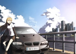 Rating: Safe Score: 87 Tags: blonde_hair brown_eyes building car city clouds long_hair original sakais3211 shorts User: Dust