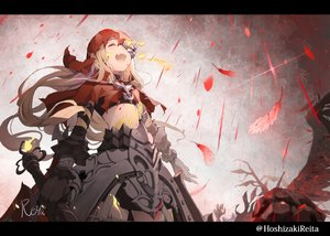 Rating: Safe Score: 77 Tags: armor blonde_hair cape fang feathers hoodie hoshizaki_reita long_hair red_riding_hood_(sinoalice) signed sinoalice watermark weapon User: FormX
