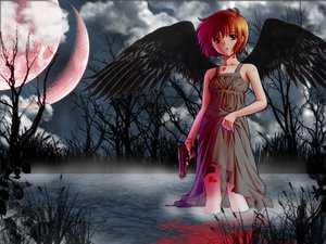 Rating: Safe Score: 26 Tags: blood clouds dress flowers gun moon noir orange_hair short_hair sky weapon wings yuumura_kirika User: Oyashiro-sama