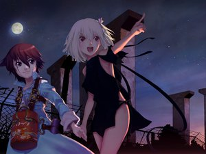 Rating: Safe Score: 53 Tags: dress fragile moon night red_eyes red_hair ren_(fragile) seto_(fragile) short_hair sky stars white_hair User: 秀悟