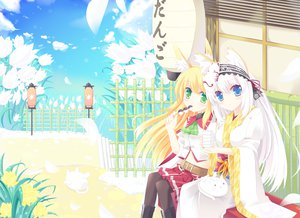 Rating: Safe Score: 71 Tags: blonde_hair blue_eyes dango flowers foxgirl green_eyes japanese_clothes long_hair mask nibiiro_shizuka original seifuku white_hair User: Wiresetc