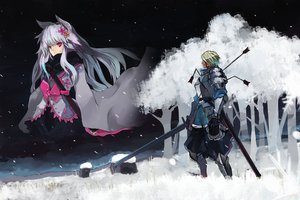 Rating: Safe Score: 149 Tags: animal_ears armor blonde_hair blood bow foxgirl gond long_hair male original pink_eyes pixiv_fantasia scarf short_hair snow sword tree weapon white_hair User: Rihardo