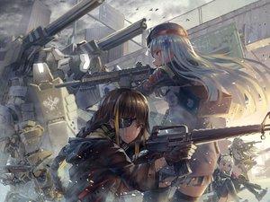 Rating: Safe Score: 51 Tags: animal anthropomorphism bird braids brown_eyes brown_hair clouds eyepatch girls_frontline gun hat hk416_(girls_frontline) long_hair m16a1_(girls_frontline) m4_sopmod_ii_(girls_frontline) sky tagme_(artist) thighhighs ump-45_(girls_frontline) weapon white_hair User: BattlequeenYume
