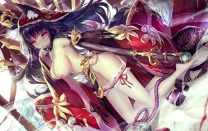 Rating: Explicit Score: 132 Tags: animal_ears blush breasts dk_senie erect_nipples long_hair nipples original pink_eyes purple_hair pussy_juice sword thighhighs weapon User: luckyluna