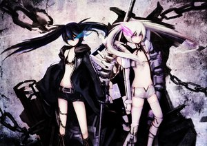 Rating: Safe Score: 187 Tags: bikini_top black_hair black_rock_shooter blue_eyes boots chain kuroi_mato long_hair pink_eyes shorts sword thighhighs twintails weapon white_hair white_rock_shooter User: Black_Rock_Shooter