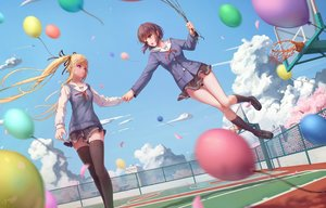 Rating: Safe Score: 94 Tags: 2girls 3d blonde_hair brown_eyes brown_hair building clouds jay_xu katou_megumi kneehighs long_hair ribbons saenai_heroine_no_sodatekata sawamura_spencer_eriri school_uniform short_hair signed skirt sky thighhighs twintails zettai_ryouiki User: RyuZU