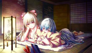 Rating: Safe Score: 188 Tags: 2girls blue_hair blush fujiwara_no_mokou gray_hair hat hijikawa_arashi kamishirasawa_keine long_hair red_eyes tagme touhou User: opai