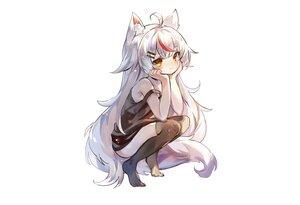 Rating: Safe Score: 60 Tags: animal_ears blush dress foxgirl fujii_shino kamiko_kana loli long_hair orange_eyes sketch summer_dress tail thighhighs third-party_edit tsunderia white User: otaku_emmy