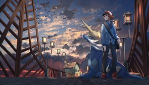 Rating: Safe Score: 20 Tags: all_male brown_eyes brown_hair clouds hat male pidove pippi_(pixiv_1922055) pokemon samurott short_hair sky touya_(pokemon) User: RyuZU