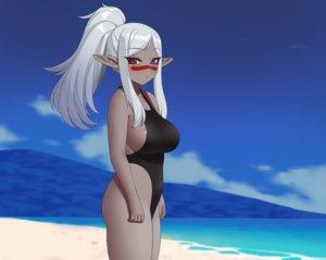 Rating: Safe Score: 33 Tags: aliasing beach bicolored_eyes breasts clouds cropped dark_skin gray_hair kuroonehalf long_hair original pointed_ears ponytail sideboob sky swimsuit water User: otaku_emmy