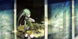 Rating: Safe Score: 128 Tags: bandage feathers green_hair hatsune_miku katana kikivi sword twintails vocaloid weapon zettai_ryouiki User: FormX